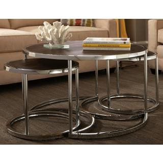 Dorango Modern Chrome 3-piece Cocktail Round Nesting Table Set