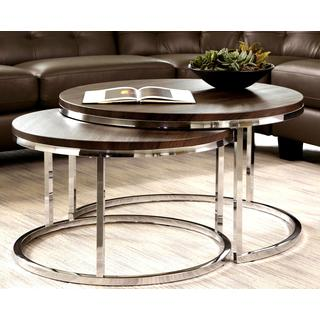 Mergot Modern Chrome 2-piece Cocktail Round Nesting Table Set