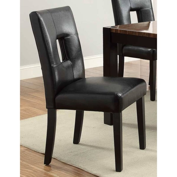 Epcot Open Back Black Upholstered Dining Chairs (Set of 2) (As Is Item)