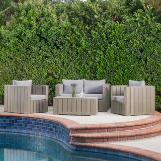 Christopher Knight Home Montecello Outdoor 4-piece Aluminum Sofa Chat Set with Cushions