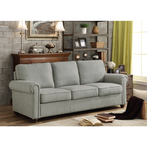 Belle Grey Rolled Arm Upholstered Sofa
