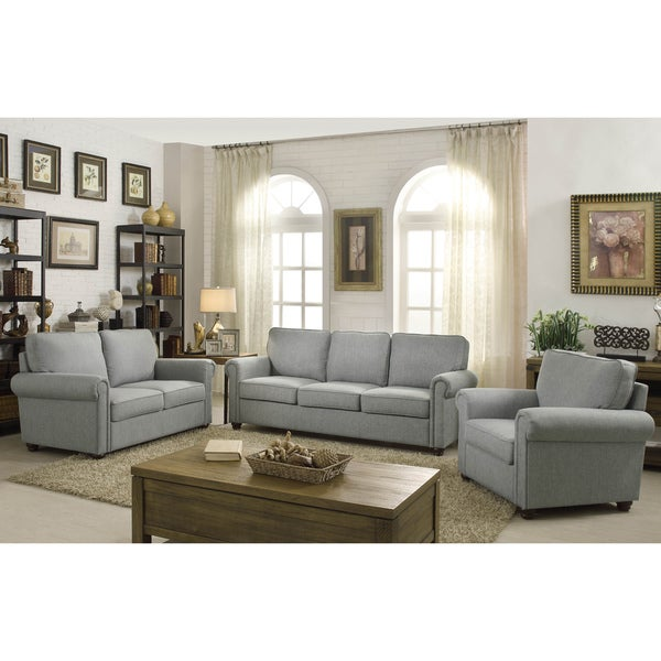 Moser Bay Furniture Belle Grey Rolled Arm Upholstered Sofa Set