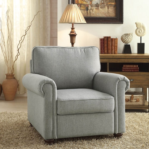 Belle Grey Rolled Arm Upholstered Chair