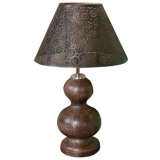 Weatherwood Lamp With Metal Shade