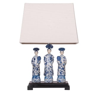 Oriental Queens Ceramic Lamp With Wood