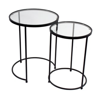 Brown Metal Glass Top Round Accent Tables (Set of 2)