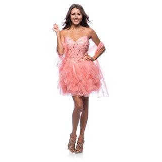 DFI Women's Sweetheart Neckline Layered Mesh Dress
