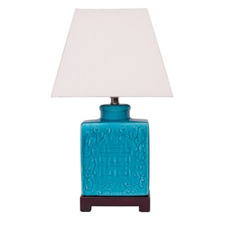 Teal Ginger Jar Lamp with Wooden Base