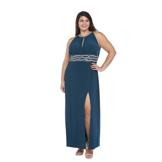 R&M Richards Plus Size Beaded Side Slit Dress