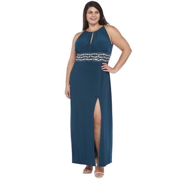 R&M Richards Plus Size Beaded Side Slit Dress
