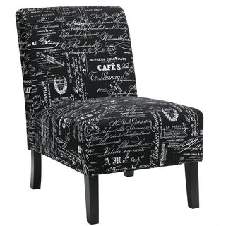 Cortesi Home Chicco Black Script Fabric Armless Accent Chair