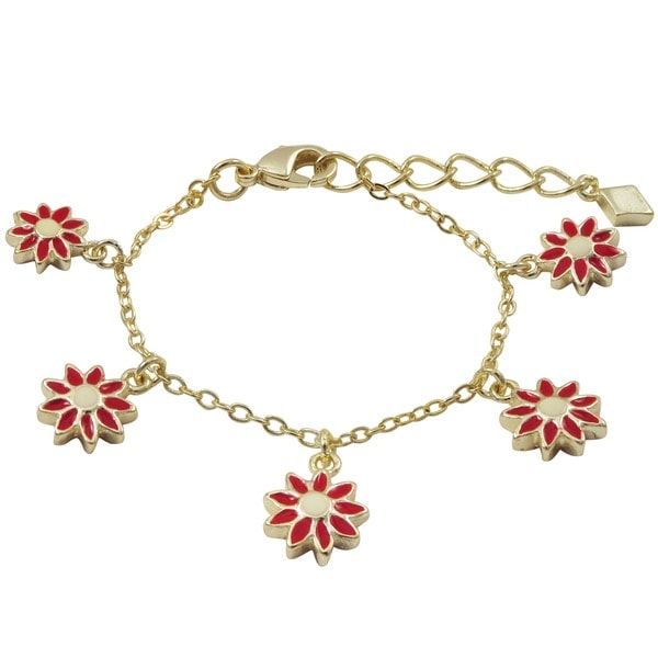 Gold Finish Children's Red Enamel Daisy Flower Charm Bracelet