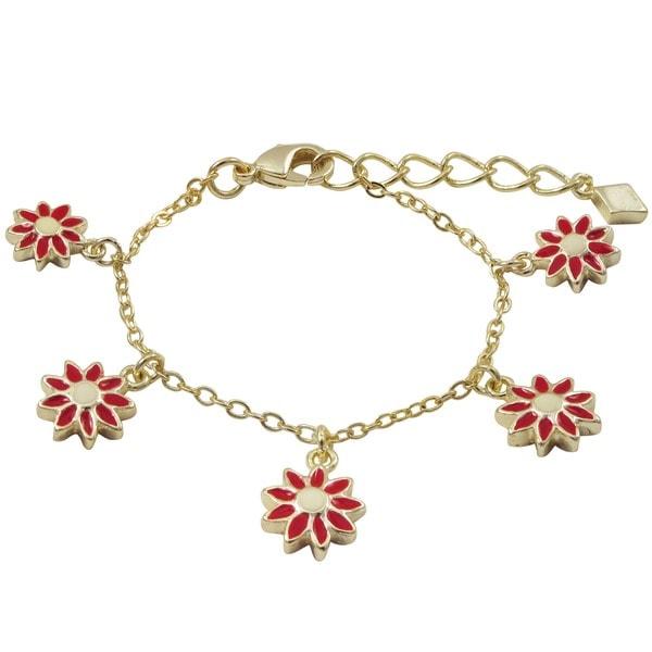 Gold Finish Children's Red Enamel Daisy Flower Charm Bracelet