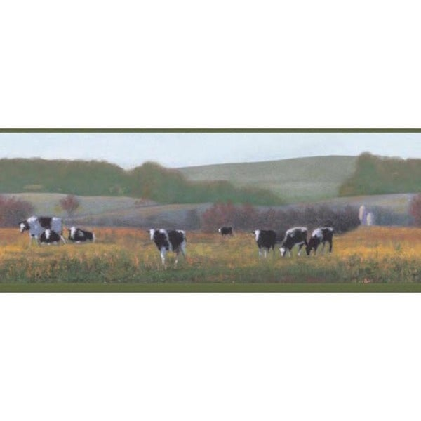 Green Cow Pasture Wallpaper Border