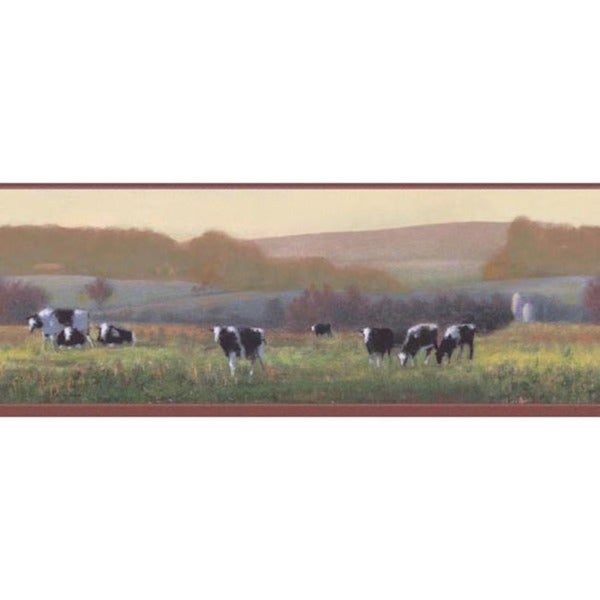 Red Cow Pasture Wallpaper Border