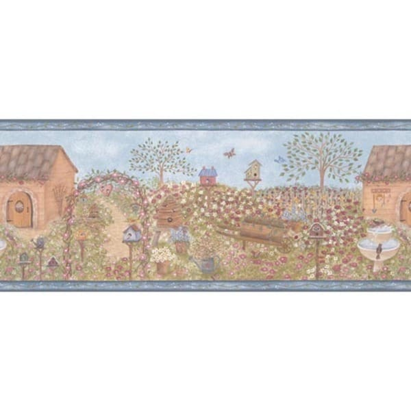 Blue Country Garden Wallpaper Border