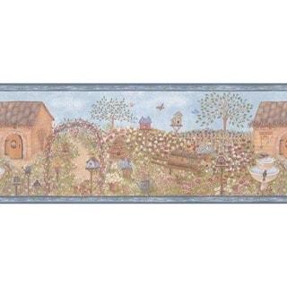 Blue Country Garden Wallpaper Border