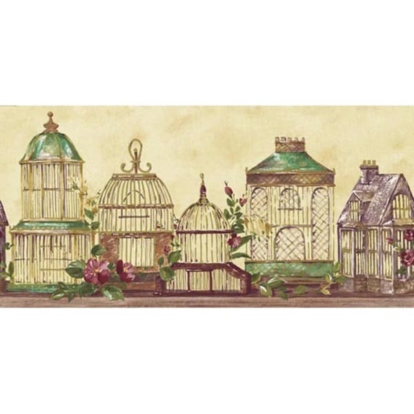 Violet Antique Birdhouse Wallpaper Border