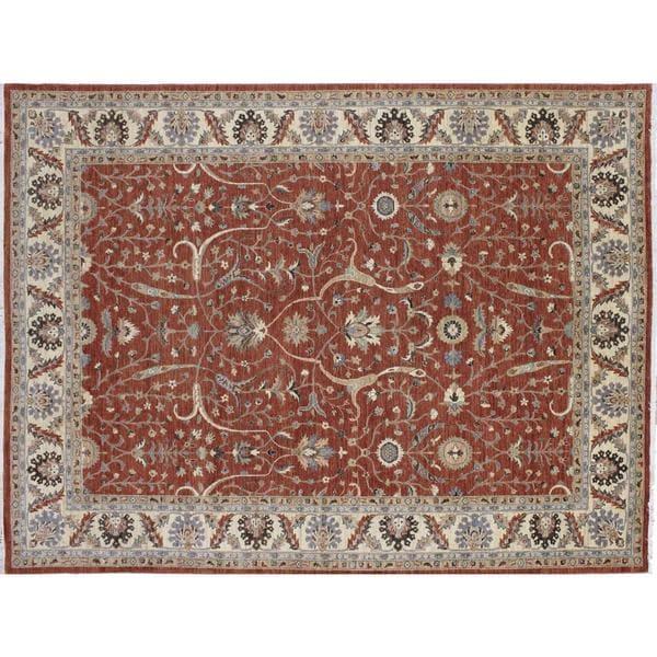 Peshawar Sad Rust Hand-knotted Rug (8'11 x 12'1)