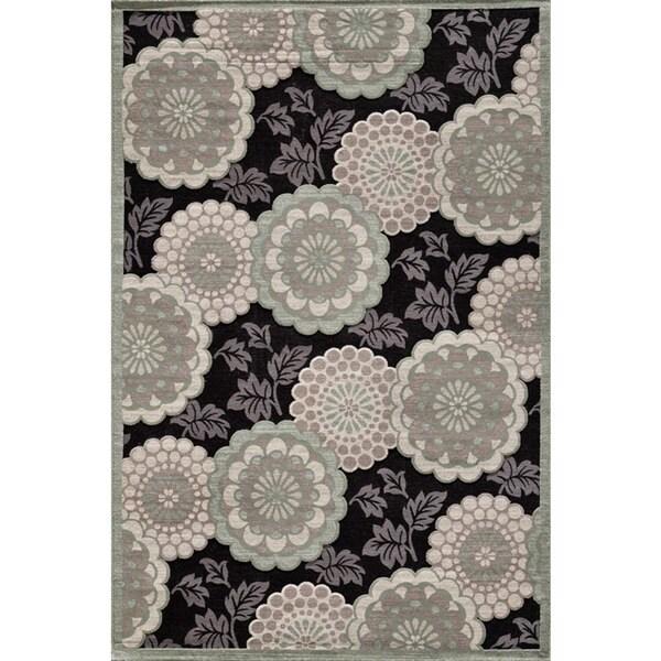 Couture Grey/ Black Floral Motif Area Rug (5'3 x 7'7)