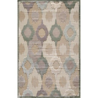 Couture Beige/ Grey Feathered Circles Rug (7'10 x 10'10)