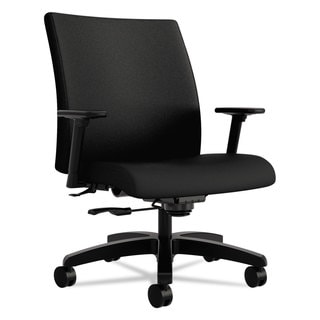 HON Ignition Series Big & Tall Black Fabric Upholstery Mid-Back Work Chair