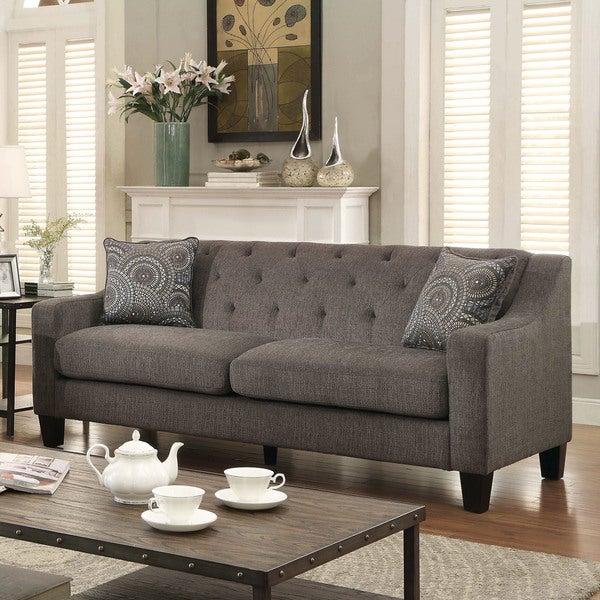 Furniture of America Bautise Contemporary Mocha Chenille Sofa