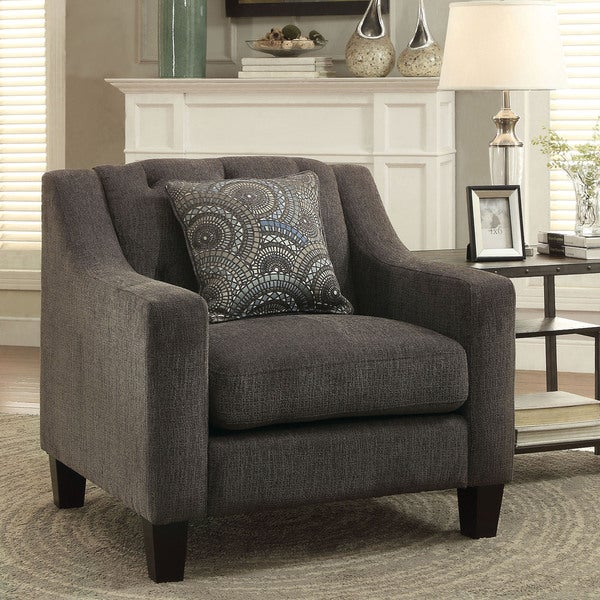 Furniture of America Bautise Contemporary Mocha Chenille Arm Chair