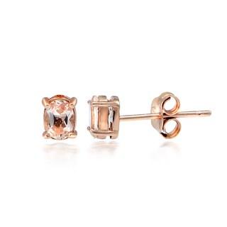 Glitzy Rocks 18k Rose Gold over Silver Morganite Oval Stud Earrings