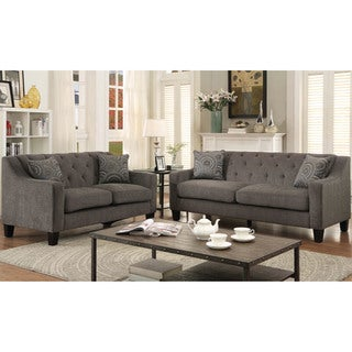 Furniture of America Bautise Contemporary 2-piece Mocha Chenille Sofa Set