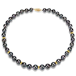 DaVonna 14k Yellow Gold Black Baroque Tahitian Pearl and Beads Necklace