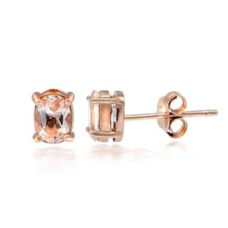 Glitzy Rocks 18k Rose over Silver Morganite Oval Stud Earrings
