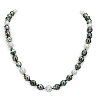 DaVonna White and Black South Sea Tahitian Pearl Endless Necklace (8-12mm)