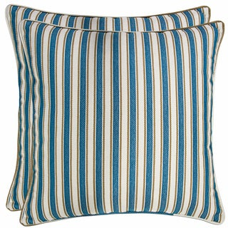 Better Living Turquoise Blue Stripe 20-inch Decorative Feather Down Accent Pillow (Set of 2)