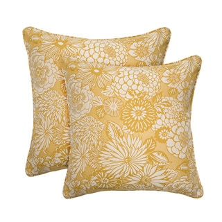 Better Living Vintage Yellow Floral 20-inch Decorative Feather Down Accent Pillow (Set of 2)