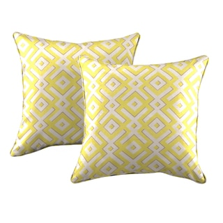 Better Living Yellow Geometric 20-inch Decorative Feather Down Accent Pillow (Set of 2)