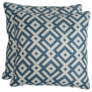 Better Living Blue Geometric 20-inch Decorative Feather Down Accent Pillow (Set of 2)