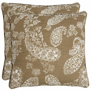 Better Living Olive Green Paisley 20-inch Decorative Feather Down Accent Pillow (Set of 2)