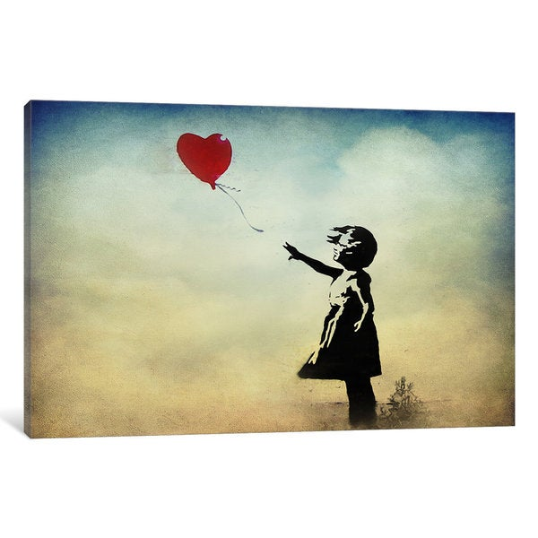 Banksy Girl with a Balloon Watercolor Canvas Wall Art