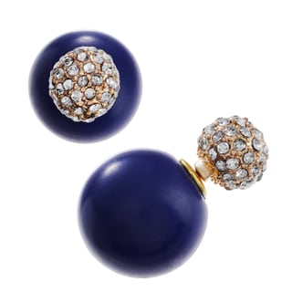 Journee Collection Metal Rhinestone Peekaboo Ball Stud Earrings