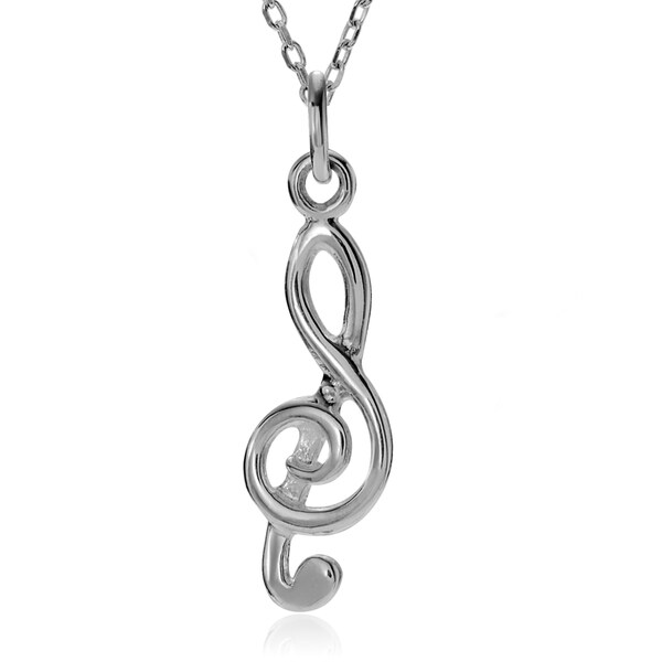 Journee Collection Sterling Silver Treble Clef Music Note Pendant