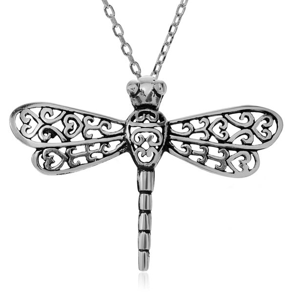 Journee Collection Sterling Silver Bali Dragonfly Pendant