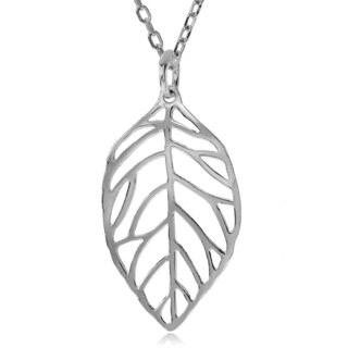 Journee Collection Sterling Silver Leaf Pendant