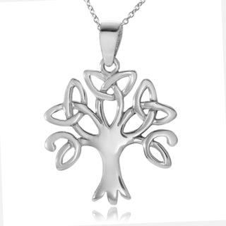 Journee Collection Sterling Silver Bali Tree of Life Pendant