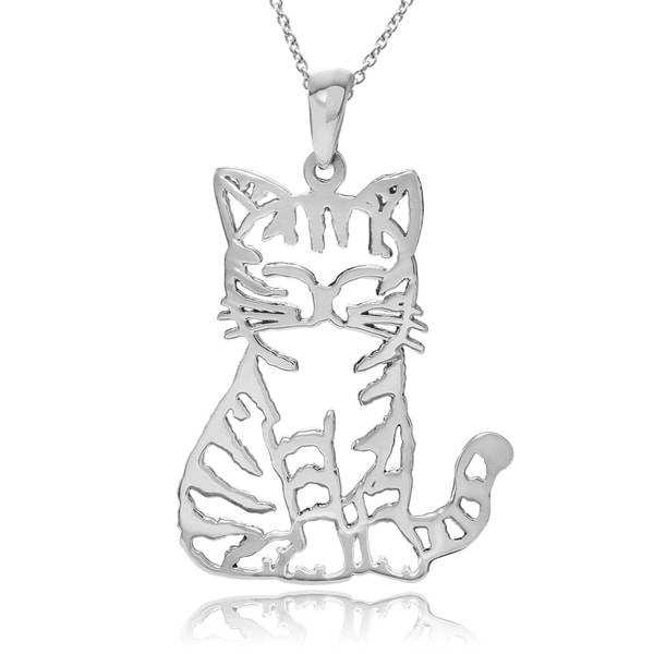 Journee Collection Sterling Silver Bali Cat Pendant
