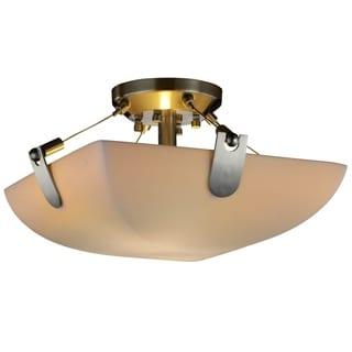 Justice Design Group Porcelina U-Clips 2-light Square Semi-Flush