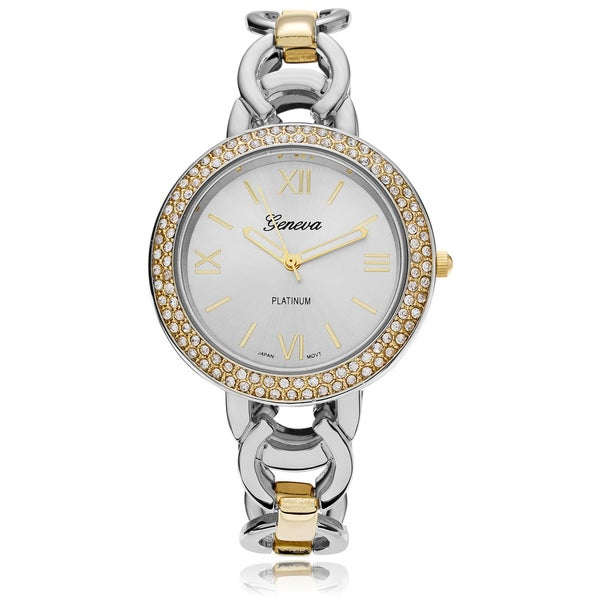 Geneva Platinum Women's Rhinestone Accent Circle Link Watch 16197721