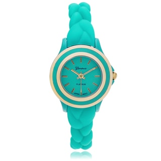 Geneva Platinum Women's Braided Color Strap Watch