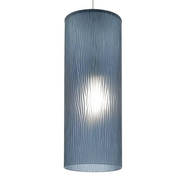 LBL Akari 1 Light Steel Blue Satin Nickel Fluorescent Pendant