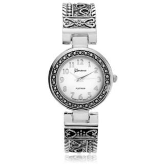 Geneva Platinum Women's Textured Cuff Bangle Watch